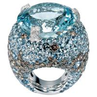 Кольцо de Grisogono Melody Of Colours, белое золото, бриллианты, аквамарины