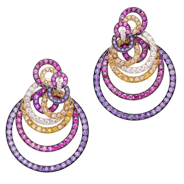 Серьги de Grisogono Gypsy, розовое золото, бриллианты, сапфиры, аметисты, шпинель