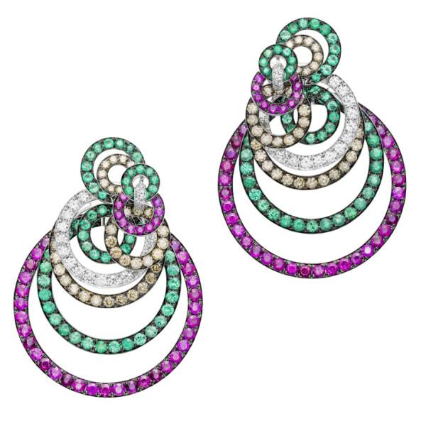 Серьги de Grisogono Gypsy, розовое золото, бриллианты, изумруды, рубины