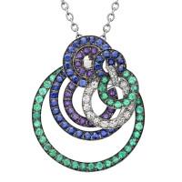 Подвеска de Grisogono Gypsy, белое золото, бриллианты, изумруды, сапфиры, аметисты