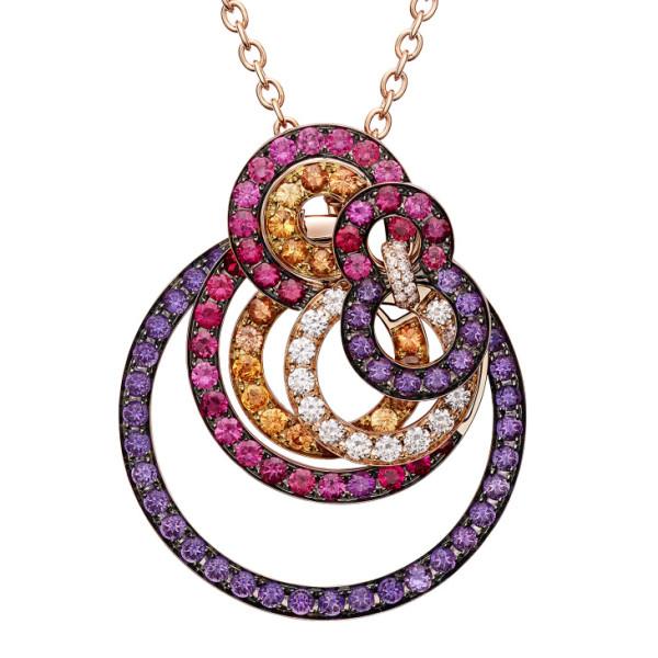 Подвеска de Grisogono Gypsy, розовое золото, бриллианты, шпинель, сапфиры, аметисты
