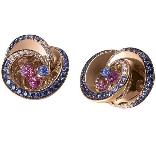 Серьги de Grisogono Chiocciolina, розовое золото, бриллианты, сапфиры, аметисты