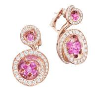 Серьги de Grisogono Chiocciolina, розовое золото, бриллианты, сапфиры