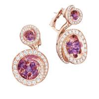 Серьги de Grisogono Chiocciolina, розовое золото, бриллианты, аметисты