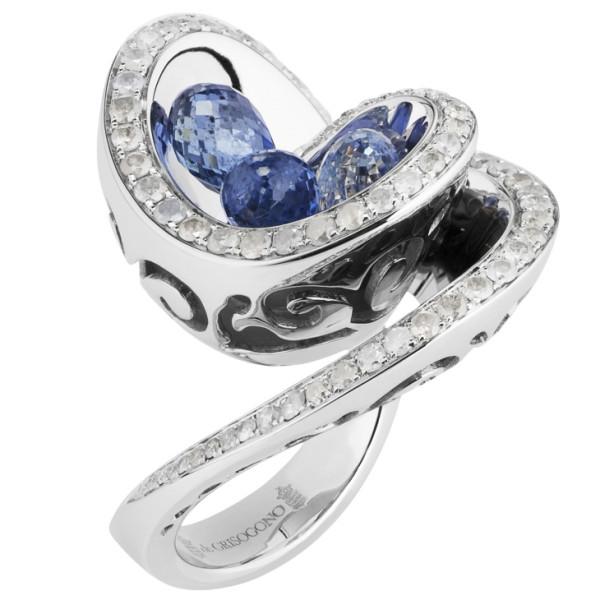 Кольцо de Grisogono Chiocciolina, белое золото, бриллианты, сапфиры