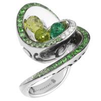 Кольцо de Grisogono Chiocciolina, белое золото, бриллианты, изумруды, цавориты, перидоты