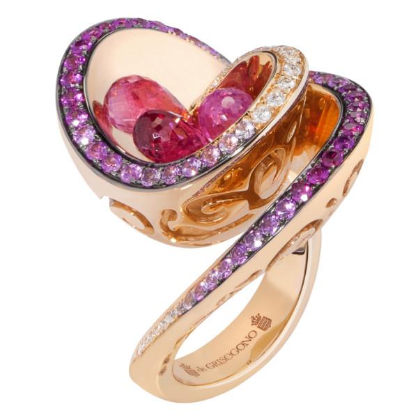 Кольцо de Grisogono Chiocciolina, розовое золото, бриллианты, сапфиры