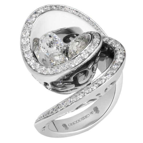 Кольцо de Grisogono Chiocciolina, белое золото, бриллианты
