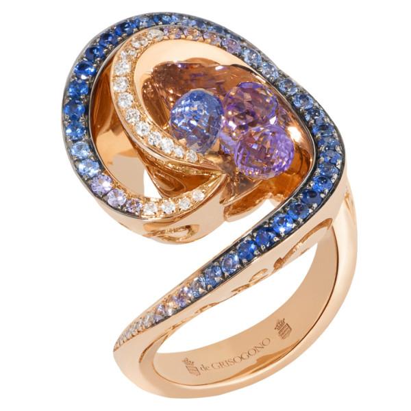 Кольцо de Grisogono Chiocciolina, розовое золото, бриллианты, сапфир, аметисты