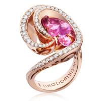 Кольцо de Grisogono Chiocciolina, розовое золото, бриллианты, сапфир