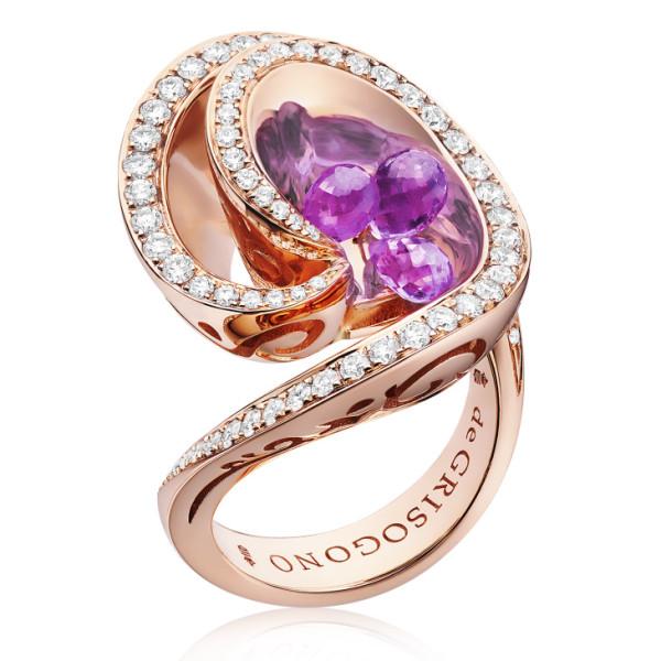 Кольцо de Grisogono Chiocciolina, розовое золото, бриллианты, аметисты