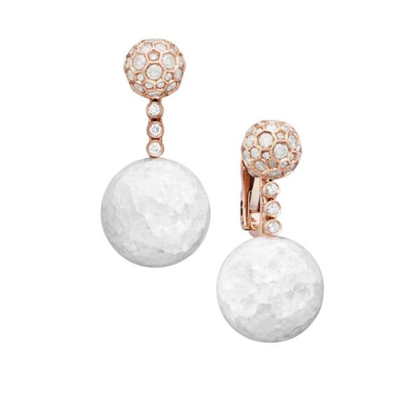 Серьги de Grisogono Boule, розовое золото, бриллианты, хрусталь