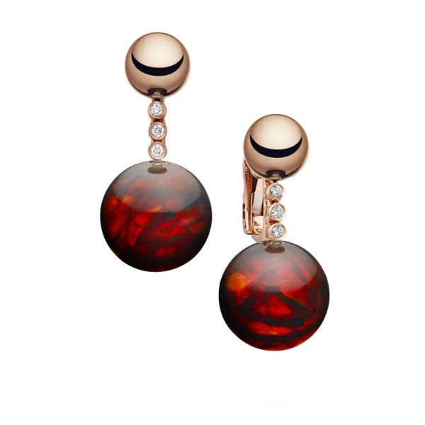 Серьги de Grisogono Boule, розовое золото, бриллианты, янтарь