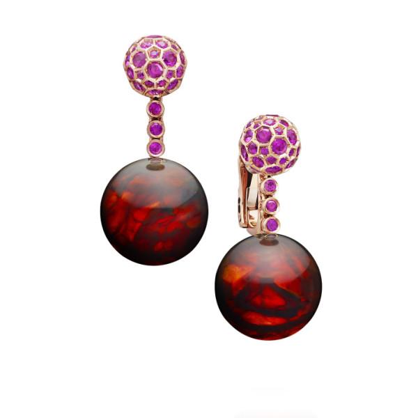 Серьги de Grisogono Boule, розовое золото, сапфиры, янтарь