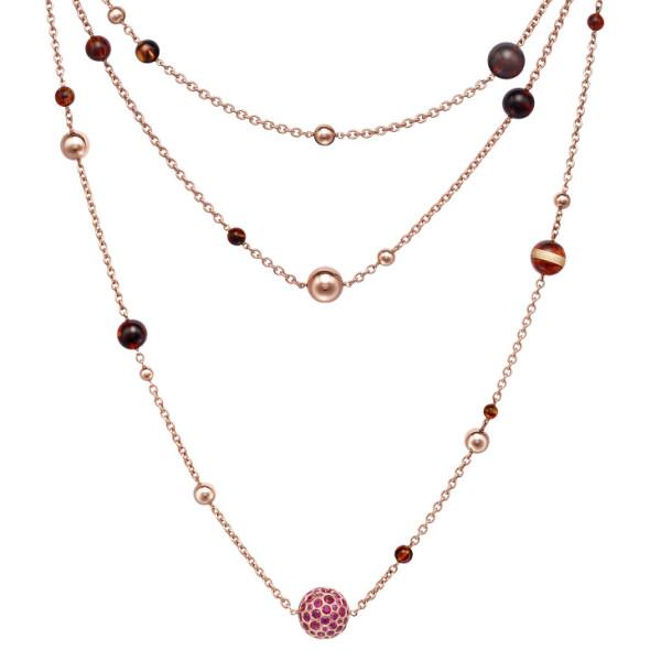Ожерелье de Grisogono Boule, розовое золото, сапфиры, янтарь