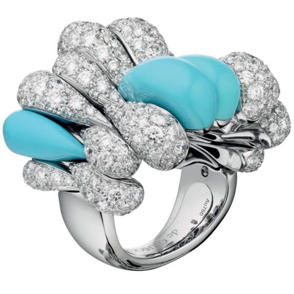 Кольцо de Grisogono Gocce, белое золото, бриллианты, бирюза