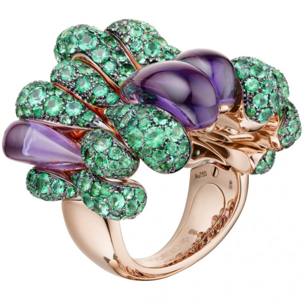 Кольцо de Grisogono Gocce, розовое золото, изумруды, аметисты