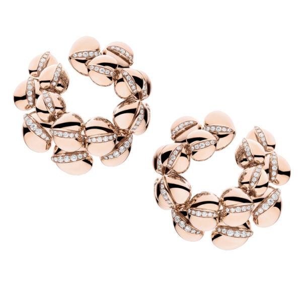 Серьги de Grisogono Conchiglietta, розовое золото, титан, бриллианты