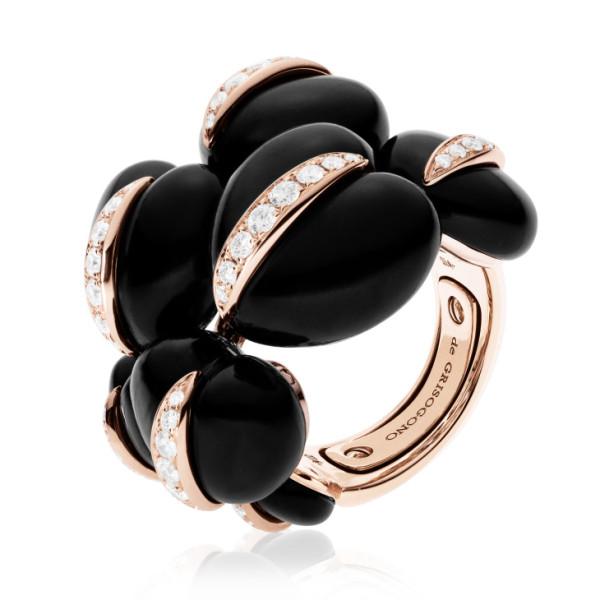 Кольцо de Grisogono Conchiglietta, розовое золото, титан, бриллианты, гагат