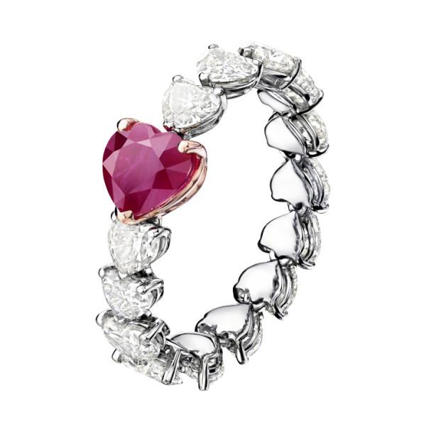 Кольцо de Grisogono Cuore, белое, розовое золото, бриллианты, рубин