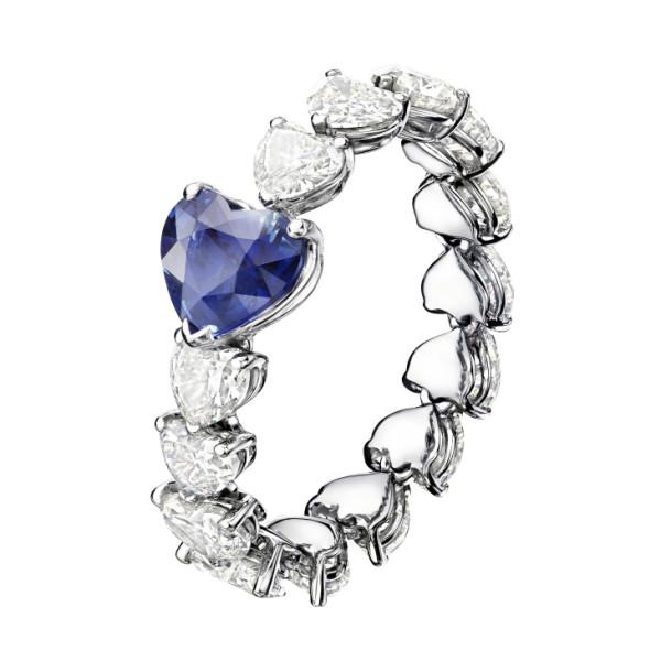 Кольцо de Grisogono Cuore, белое золото, бриллианты, сапфиры