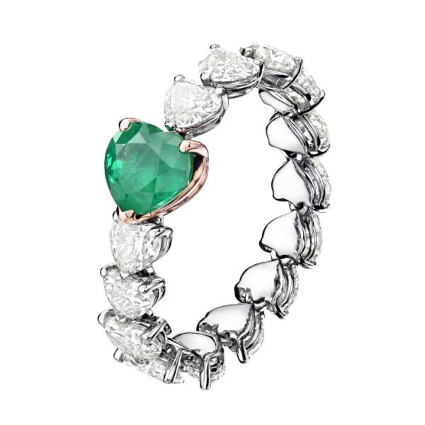 Кольцо de Grisogono Cuore, белое, розовое золото, бриллианты, изумруд
