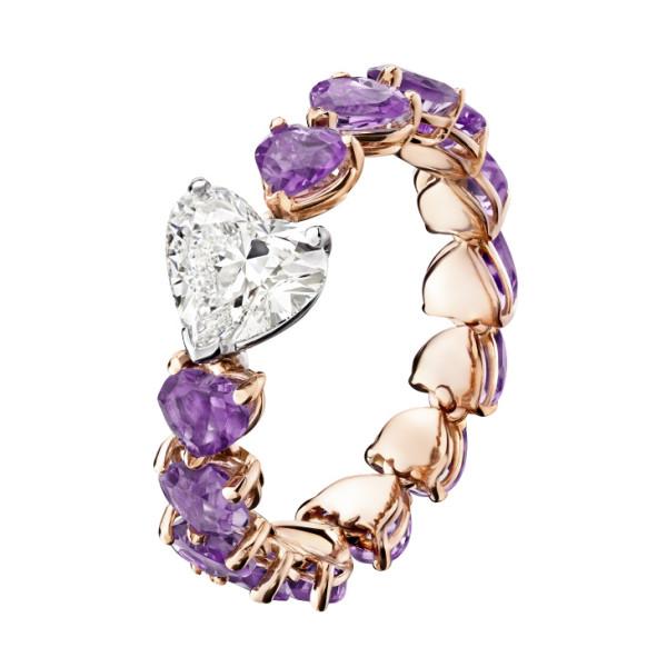 Кольцо de Grisogono Cuore, белое, розовое золото, бриллиант, аметисты