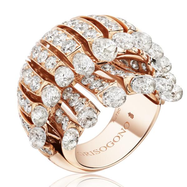 Кольцо de Grisogono Frange, розовое золото, бриллианты