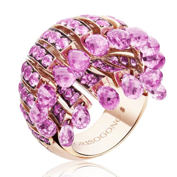 Кольцо de Grisogono Frange, розовое золото, сапфиры