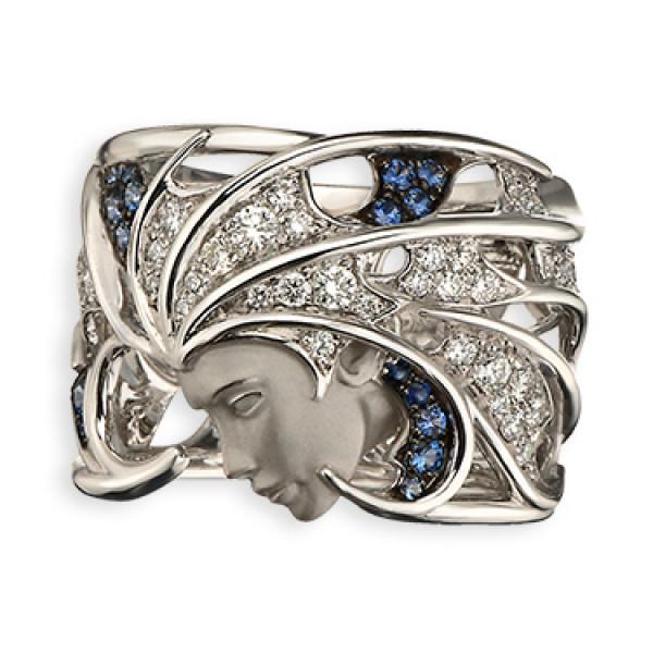 Кольцо Magerit Atlantis Sirena Aire, белое золото, бриллианты, сапфиры