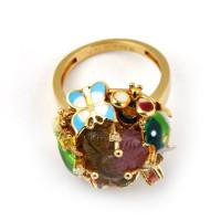 Кольцо Roberto Bravo, желтое золото, драгоценные камни