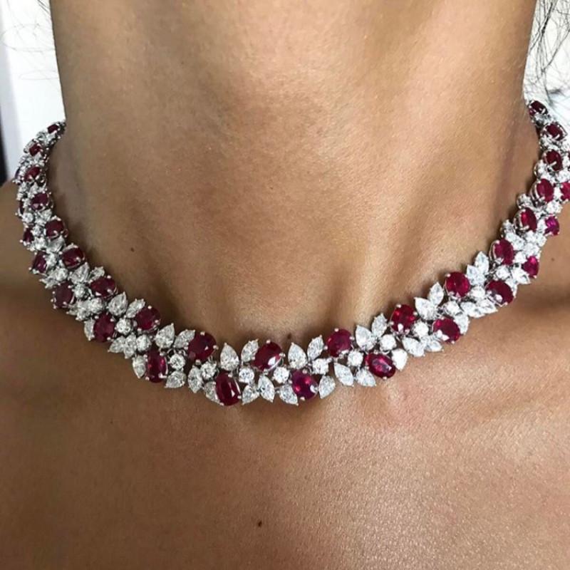 Колье Maria Gaspari, белое золото, бриллианты, рубины