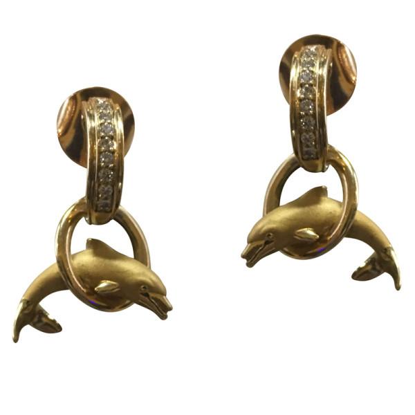 Серьги Carrera y Carrera Dolphin, желтое золото, бриллианты