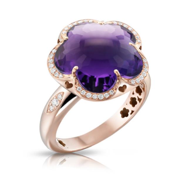 Кольцо Pasquale Bruni Bon Ton, розовое золото, аметист, бриллианты