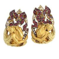 Серьги Magerit New Fire Diosa, желтое золото, бриллианты, сапфиры