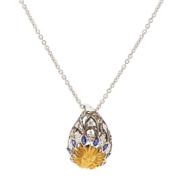 Подвеска Magerit Versailles Cupula Sol, белое, желтое золото, бриллианты, сапфиры