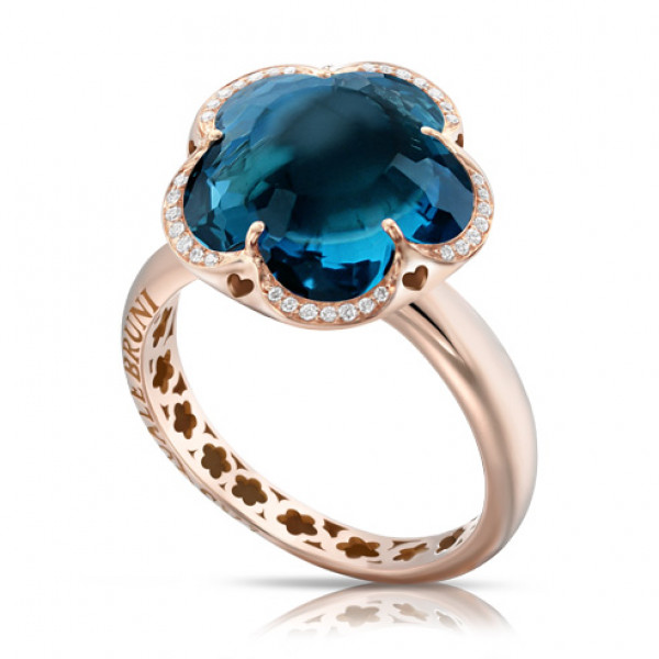 Кольцо Pasquale Bruni Bon Ton, розовое золото, топаз, бриллианты