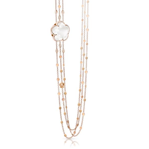 Ожерелье Pasquale Bruni Bon Ton, розовое золото, кварц, бриллианты
