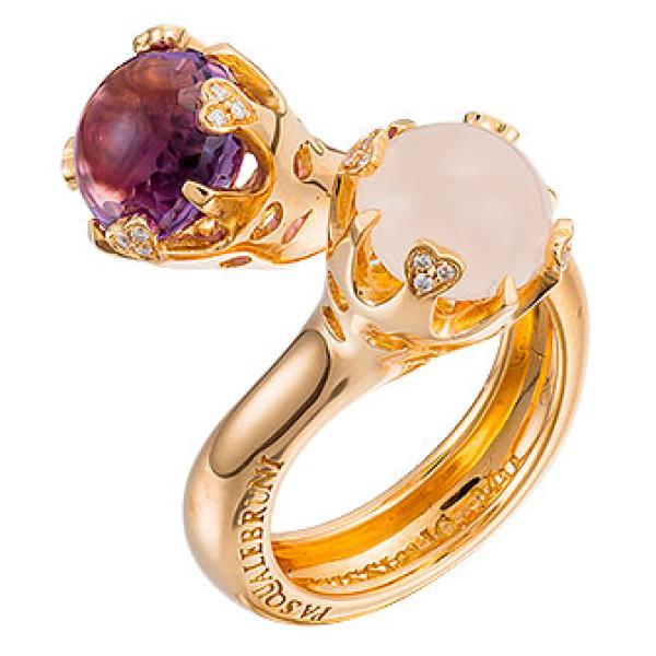 Кольцо Pasquale Bruni Sissi Io Amo, розовое золото, бриллианты, аметист, кварц