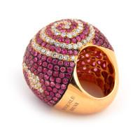 Кольцо Pasquale Bruni, розовое золото, бриллианты, розовые сапфиры