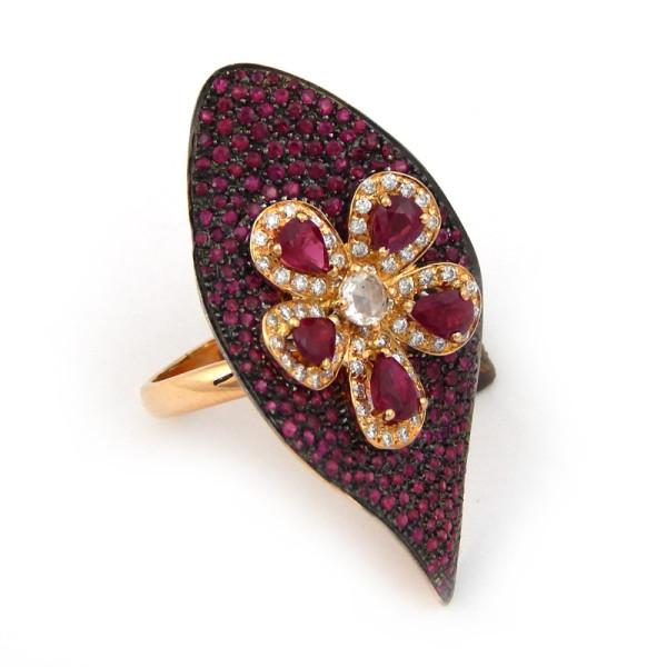 Кольцо Piantelli, розовое золото, бриллианты, рубины