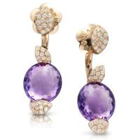 Серьги Pasquale Bruni Petit Secret, розовое золото, бриллианты, аметисты