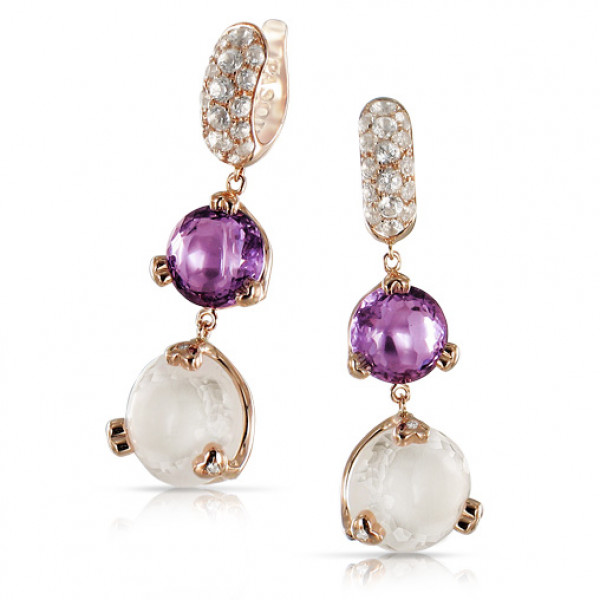 Серьги Pasquale Bruni Sissi, розовое золото, бриллианты, аметисты, кварц, топазы