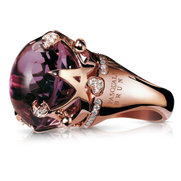 Кольцо Pasquale Bruni Sissi, розовое золото, бриллианты, аметист