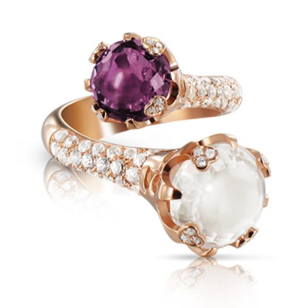 Кольцо Pasquale Bruni Sissi, розовое золото, бриллианты, аметист, кварц, топазы