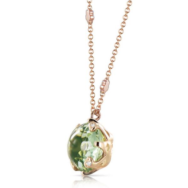 Подвеска Pasquale Bruni Sissi, розовое золото, бриллианты, зеленый аметист