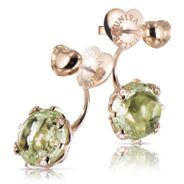 Серьги Pasquale Bruni Sissi, розовое золото, бриллианты, зеленый аметист