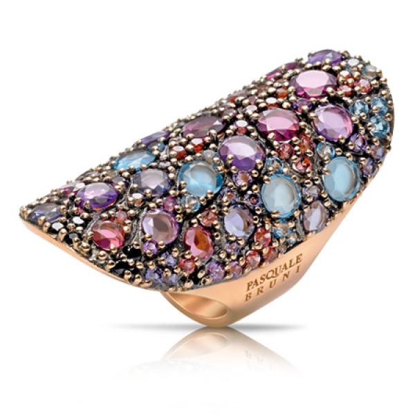 Кольцо Pasquale Bruni Mandala, розовое золото, разноцветные камни
