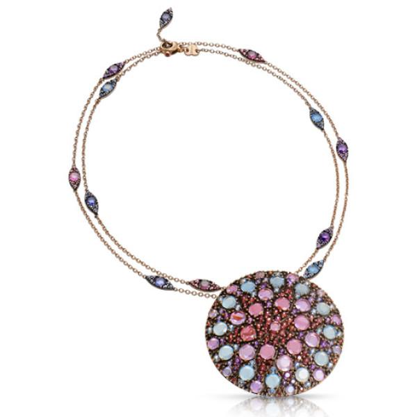 Колье Pasquale Bruni Mandala, розовое золото, разноцветные камни