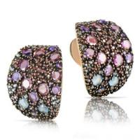 Серьги Pasquale Bruni Mandala, розовое золото, разноцветные камни